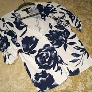 INC Nvy White Floral Gathered Sleeves Cardigan Med